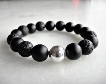 Black onyx bracelet made with sterling silver and lava stone beads, bracelet for men - genuine stone bracelet