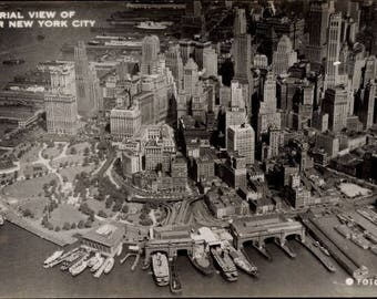 c. 1950s New York City, Aerial View of Lower NYC, Real Photo Postcard c. FOTO SEAL; Boats in Dock; Near Mint Unused