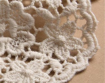 cotton lace CURTAIN panel, hand-made from cotton lace in off white _ floral