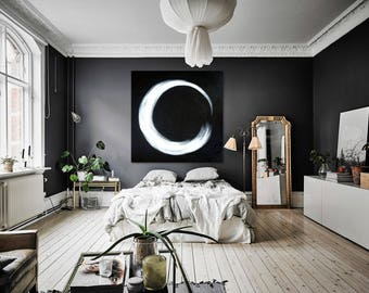 "Circle XXL 40"" x 40"" black white painting handpainted original canvas"