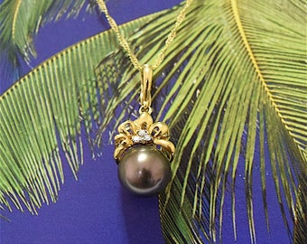 Tahitian Pearl Pendant, 14KT Yellow Gold Tahitian Pearl Pendant With 3 Diamonds, P5012,  Made in Hawaii