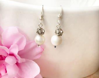 Rhinestone and pearl earrings, silver and pearl earrings, bridal earrings, silver rhinestone ball earrings, pearl dangle earrings