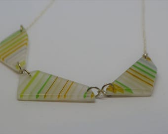 Blind Patterned Pendant -  three geometric kiln formed glass pendants on silver chain