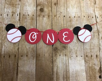"Baseball Mickey Mouse High Chair Banner. Mickey Mouse ""ONE"" Banner,Mickey Mouse Birthday Banner, Smash Cake Banner"