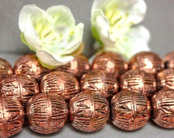 4 Pcs Big 12mm Solid Antiqued Etched Copper Corrugated Round Beads 934