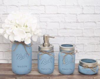 Mason Jar Bathroom Set-Painted Mason Jars-Bathroom Decor-Farmhouse Bathroom Decor-Farmhouse Decor-Mason Jar Soap Dispenser-Housewarming gift