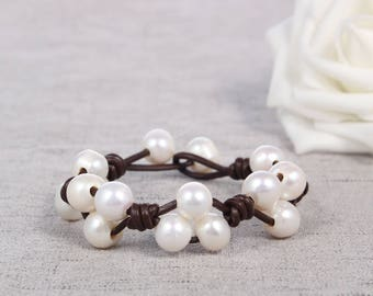 Hand made friendship bracelet - pearl leather woven bracelets - freshwater pearl jewelry bridesmaid gift white pearl bracelet