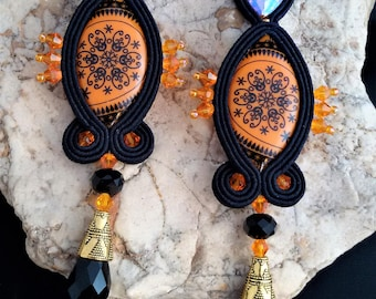soutache earrings halloween  jewels, Soutache Jewerly, fashion, Soutache Jewels, accessories, cabochon, crystals, beads, handmade from Italy