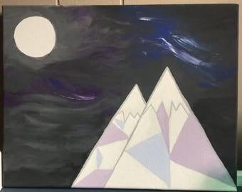 Geometric Mountain Acrylic Painting