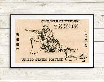 Large poster: Shiloh, United States Postage, Civil War Centennial, civil war stamps, civil war art, history posters, USA stamps, prints