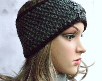 Cashmere wool headband in grey-black