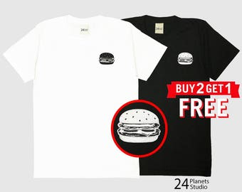 Hamburger Embroidered T-Shirt by 24PlanetsStudio