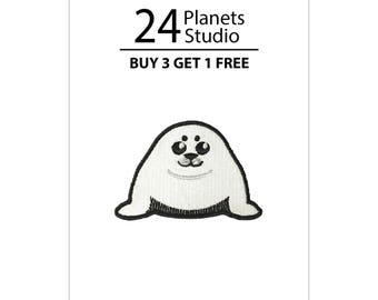 Mini Harp Seal Pup Iron on Patch by 24PlanetsStudio