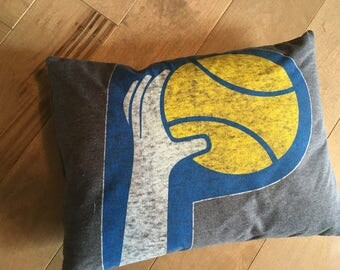 Indiana Pacers Basketball Upcycle T-Shirt Pillow (12x16)