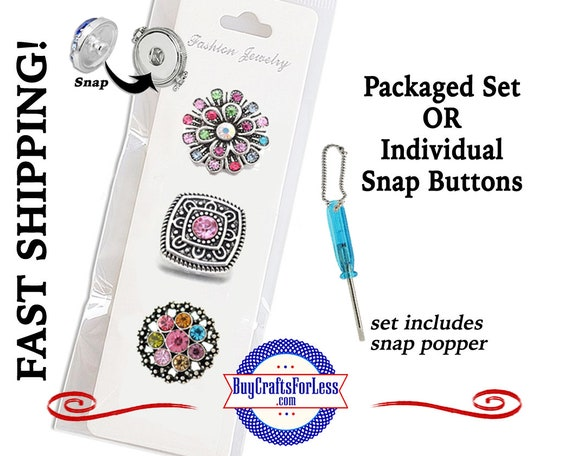 SNAP METAL 18mm Rhinestone Snap Buttons, Packaged 3 Snap Buttons or Individual INTERCHaNGABLE Buttons +FREE Shipping & Discounts
