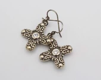 Silver Tone Cubic Zirconia Cross Earrings
