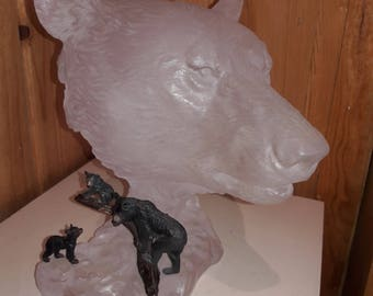 Acrylic sculpture with bronze bears. CALLED MOTHERS FAMILY.