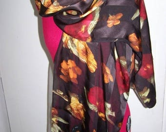 Christmas gift, silk scarf, printed Bianchini Ferrier