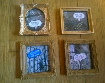 Magnetic or freestanding mini frames -themes or empty gold frame photo holder with sets of images acrylic and magnet
