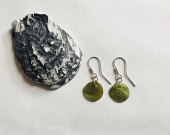 Green shell earrings, sterling silver and green shell earrings, green and silver earrings