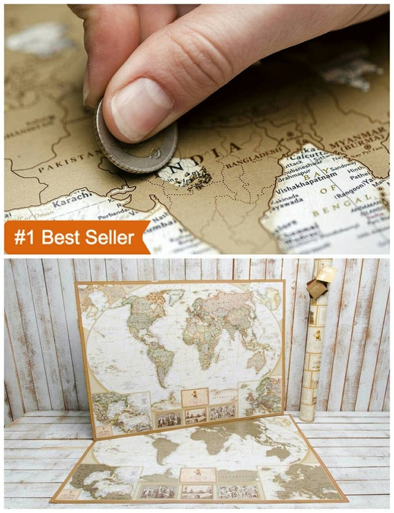 Map wall art gold gold world map large travel map large like this item gumiabroncs Gallery
