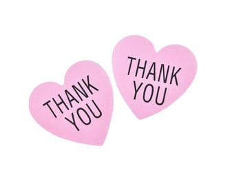 """48 PCS Vintage """"Thank you"""" Pink Heart design Paper Sticker, Seals, Scrapbook Supplies, Stationary, Paper, Paper Stickers, Stickers"""