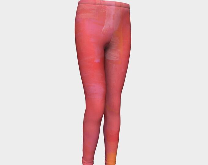 Girls Leggings, Pink and Orange Leggings, Girls Yoga Leggings, Leggings, Girls Clothes, Dance Leggings, Girls Yoga Pants, Gift for Girl