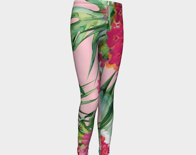 Tropical Girl Leggings, Girls Leggings, Girls Pants
