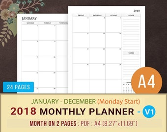 2018 Monthly Planner Calendar Printable, Monday Start, MO2P, Month on 2 Pages, Planner Inserts, Minimalist, Agenda, Instant Download, A4 PDF