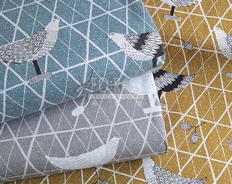 Cosmo cotton linen - Geometric birds fabric- 50cm