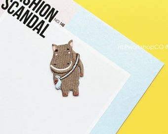 HIPPO BACK SCHOOL -- Handmade Embroidered Patch Brooches Pins/Fabric Badge/Iron-On Patches/Animal/Shopping