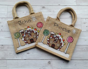 Gingerbread house jute bag