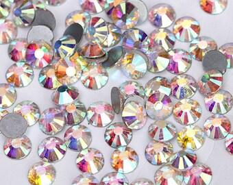 100 pcs Crystal AB SS8 - 2,4mm Rhinestones Type Swarovski Nail Art Flat Back Stones Non Hotfix Gems Style Crystals Zircon