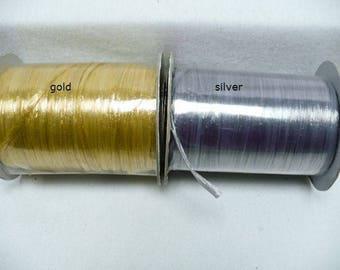 silver raffia, gold raffia, raffia, 100 yards roll