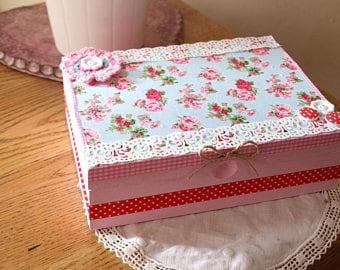 Cottage style jewelry box shabby chic English