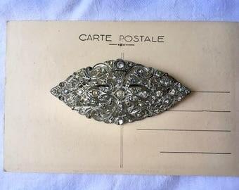 Vintage Rhinestone Pin Glam 20's era paste antique Jewelry