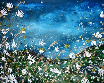 Large (A3) Giclee fine art print of original acrylic painting of daisies overlooking Scottish Borders hillside