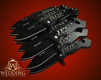 8 Personalized Knifes - 8 Groomsmen engraved gift - Usher & Officiant gift - Engraved tactical knife - Wedding Groom gift - Best Man gifts