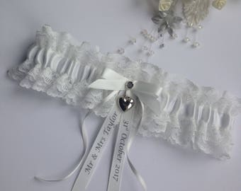 Personalised Wedding Garter, lightest Ivory with heart charm, available in S/M & Plus/Large sizes