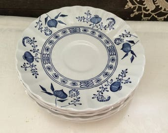 Vintage J&G Meakin Ironstone Blue Nordic set of 6 Saucers circa 1960's