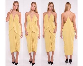 Elegant dress, yellow dress, fuchia dress, yellow drape dress, fuchia drape dress, drapel dress, long dress,  party dress
