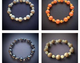 Precious stone w/ matte bead woman's bracelet (jade, amethyst, crystal)