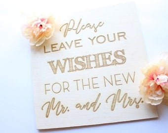 Guestbook Table Sign, Wedding Guestbook, Please Leave Your Wishes For The New Mr And Mrs, Wedding Wood Signs, Please Leave Your Wishes Sign