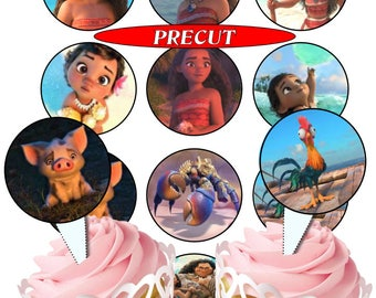 Moana pre-cut edible cupcake toppers, 2 sizes,4 choices