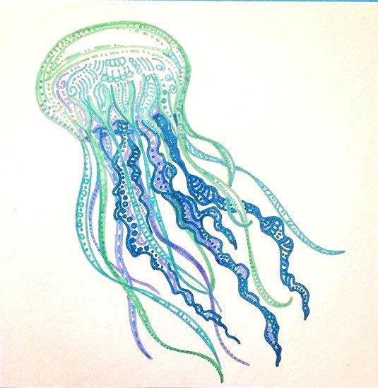 Colorful Jellyfish art blue jellyfish drawing jelly fish decor