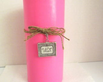 Bright Pink painted cylinder vase