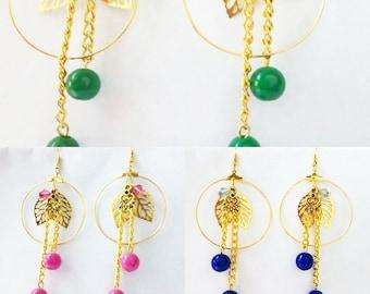 pink, blue,  green, red and orange hoop loop leaf drop earrings
