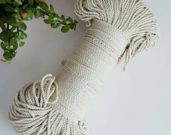 3mm unbleached twisted cotton rope. Macrame rope. Craft supply