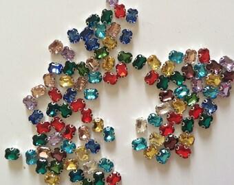 100 rhinestone sertisse 6 * 8 has sew multicolor Crystal AB