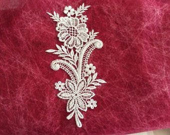 Applique sewing white lace